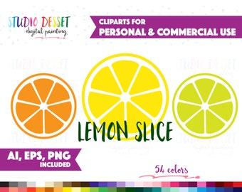 Lemon Clipart Planner Stickers, Vector Clip Art, Graphics PNG AI EPS, Clipart Printable, Lime Clipart Commercial Use Sliced Lemon Sticker