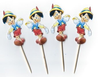 12 Pinocchio inspiried Cupcake Toppers, Party Picks, Cupcake, Pinocchio Cupcakes, Theme Birthday Decor, Shower, Celebration. Pinocchio