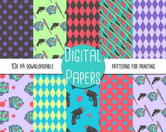 Joker and Harley Quinn Themed A4 Digital Paper - Instant Download for Printing and Scrapbooking