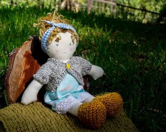 Lizzy, the blond rag doll - cloth doll