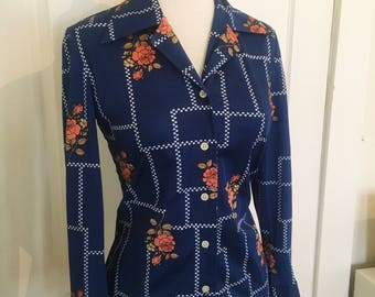 1970's Patterned Button Up Collared Shirt