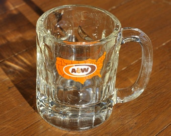 Vintage A & W Root Beer Brown and Orange America Logo Clear Drinking Glass Mug - Root Beer Float