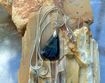 Hawk's eye pendant Blue Tiger eye free form shape charm jewelry small gemstone with necklace