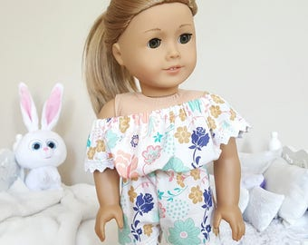 18 inch doll white floral romper