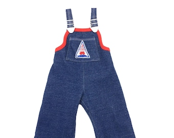 Vintage nautical sailboat dark blue baby dungarees 3-6 months