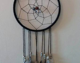 Black Dream Catcher with brown and white accents