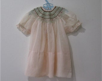 50s child's sheer pink hand smocked Fancy Easter dress