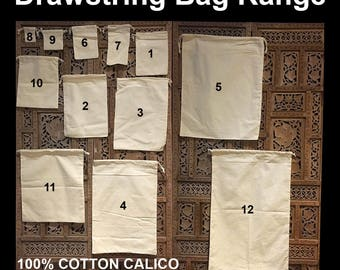 "Calico Drawstring Bags Bulk Calico Bags Cotton Tote Bag Pkts  Custom Calico Bags ""Customisation"""