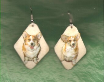 CORGI - EARRINGS - Ostrich Shell - Handcrafted - Unique