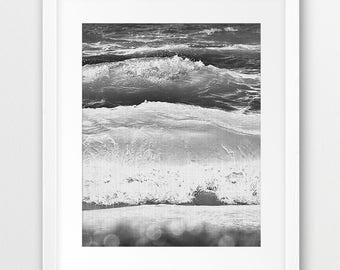 Sea Waves Wall Art Print, Ocean Photo, Beach Coastal Decor, Grey Black White Modern, Home Office Decor, Sea Poster, Digital Printable Art