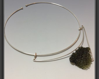 Necklace with rough Moldavite