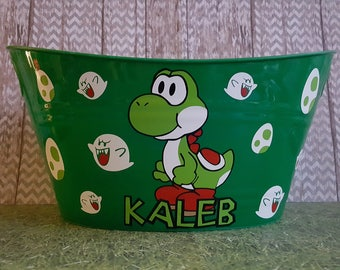 Yoshi Themed Easter Basket, Oval Tub for Toy Storage