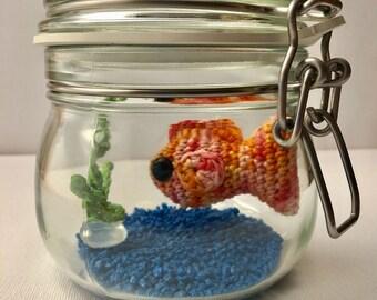 No Fuss Fish - orange / pink multicolour fish in glass jar