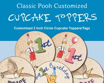 Classic Winnie the Pooh Customized 2 Inch circle Cupcake Toppers/Tags