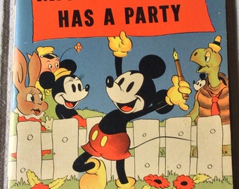 Excellent vintage Disney book Mickey Mouse has a party 1938