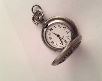 Pewter Small Filigree Pocket Watch
