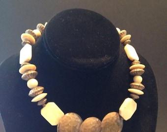 On Sale Hammered Copper Beads Stones Choker Necklace Vintage Mad Men Mod