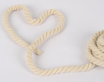 5 Yards, Various Width, Zakka Style Natural Color (Off White) Cotton Rope / Decorative Rope