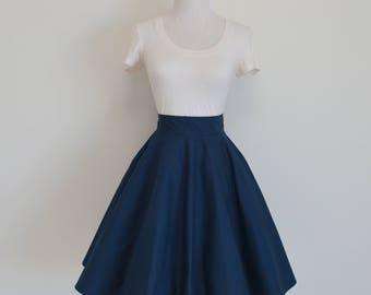 Navy Blue Homemade Circle/Swing Skirt