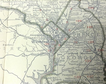 1921 Antique Map of Maryland & Delaware (Washington D.C. and Baltimore)-Xtra Large (Commercial size-28x20.5) map w/ nice Tan color and fine