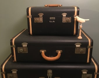 Vintage National Leather Goods Navy with Cream Trim Luggage, Cream Leather Handles,  Mid-Century, Train Travel Leather Suitcase Travel Style