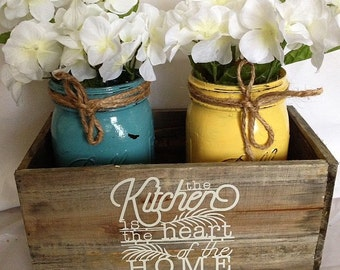 rustic mason jar kitchen decor - mason jar centerpiece - rustic kitchen decor - Neutral Rustic Mason Jar kitchen decor - Hostess Gift
