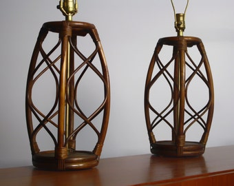 Set of Mid Century Bent Bamboo Lamps