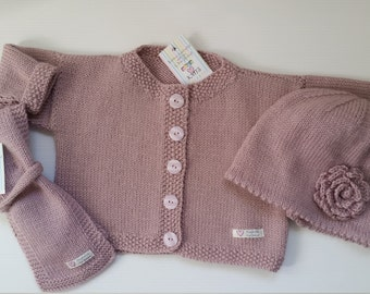 Hand knitted set of 3, sizes  6 mths, 12 mths and 2 yrs, wool,  baby cardigan, baby scarf, cloche hat, Winter wardrobe, baby clothing set,