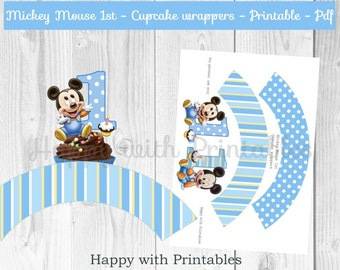 Mickey Mouse 1st bday Cupcake wrappers - Mickey Mouse toppers - 1st bday  - Mickey Mouse party - Mickey Mouse 1st birthday cake wrappers