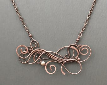 Copper organic swirls necklace with pearl