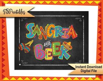 Printable Sangria Sign, Sangria & Beer Fiesta Party sign, Fiesta party decor, taco party sign Cinco De Mayo party Decoration birthday fiesta