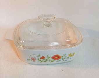 Vintage Corning Ware Wildflower Casserole Dish With Lid, A-1-B, 1 Quart