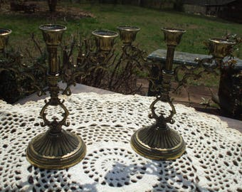 Reduced!!!! Pair of Small Gold Brass Candelabras Made in Italy