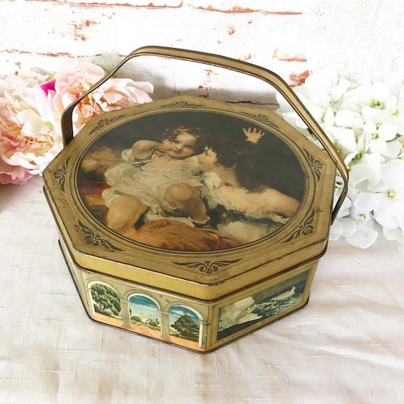 Decorative Box Lunches : Antique biscuit tin litho pail box decorative lunch