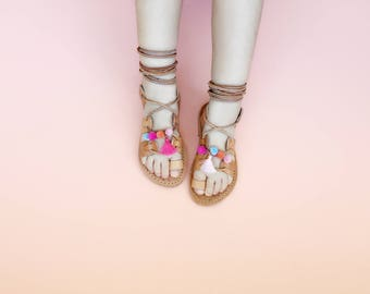 Child Gladiators PomPom Wrap Up Greek Summer Leather Sandals - Natural color leather with Multi color Poms and Tassels