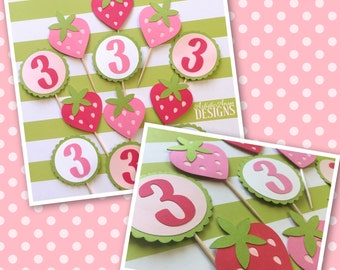 Strawberry Shortcake Birthday Cupcake Toppers Set of 12 – Strawberry Birthday Party - Birthday Age - Pink Red Lime Green
