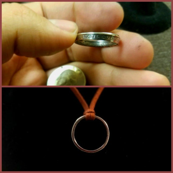 Coin Ring, Handcrafted Quarter, Necklace pendant