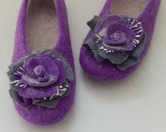Felted Wool Purple Slippers. Handmade in SCOTLAND, Edinburgh. Made by Feltingstudio. 100% Wool