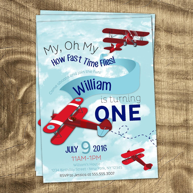 Airplane Theme Birthday Invitation Birthday Invitations For