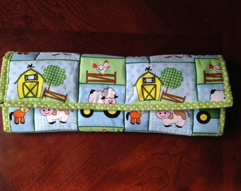John Deere Tracker Farm Animals Extra Large Travel Changing Pad with wipe and diaper pocket
