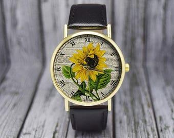 Vintage Sunflower Flower Watch | Floral Watch | Botanical | Leather Watch | Women's Watch | Birthday | Wedding | Gift Ideas | Accessories