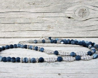 Blue Frost Agate Stone Necklace for Men, Antique Silver Necklace, Mens Beaded Jewelry, Mens Beaded Necklace, Natural Stone Necklace