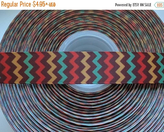 "HOT DEAL Fall Autumn Chevron 7/8"" 22mm Grosgrain Hair Bow Craft Ribbon 782677"