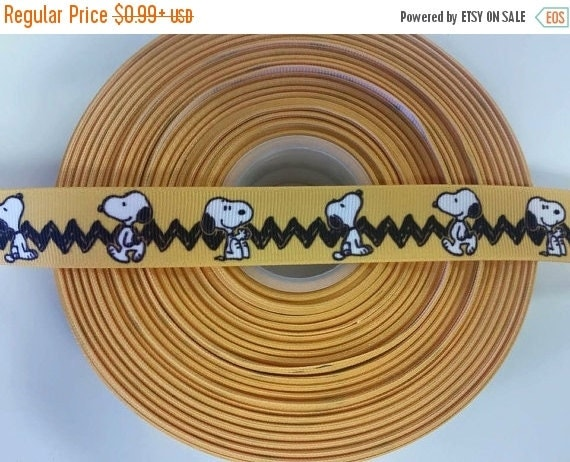 """SUPER SALE PEANUTS Snoopy Inspired 7/8"""" 22mm Grosgrain Hair Bow Craft Ribbon 781850"""
