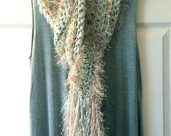 Sage Green Crocheted Scarf