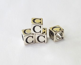 Sterling Silver, Alphabet, Letter, LETTER C, Bead, Clearance, Sale, Jewelry, Beading, Supply, Supplies
