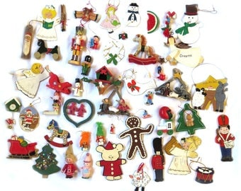 50+ Wooden Christmas Ornaments Some Vintage All Sizes Colors