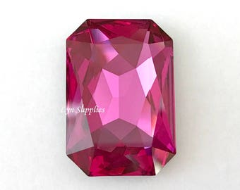 4627 FUCHSIA 27x18.5mm Swarovski Crystal Rectangle Octagon, Magenta Focal Pendant