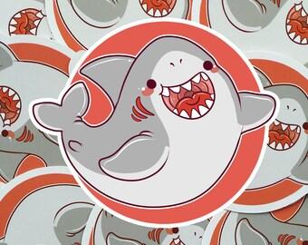 Kawaii Shark Nugget Sticker ( cute chibi stickers sharks )