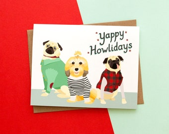 Yappy Howlidays // Handmade Holiday Themed A2 Greeting Card